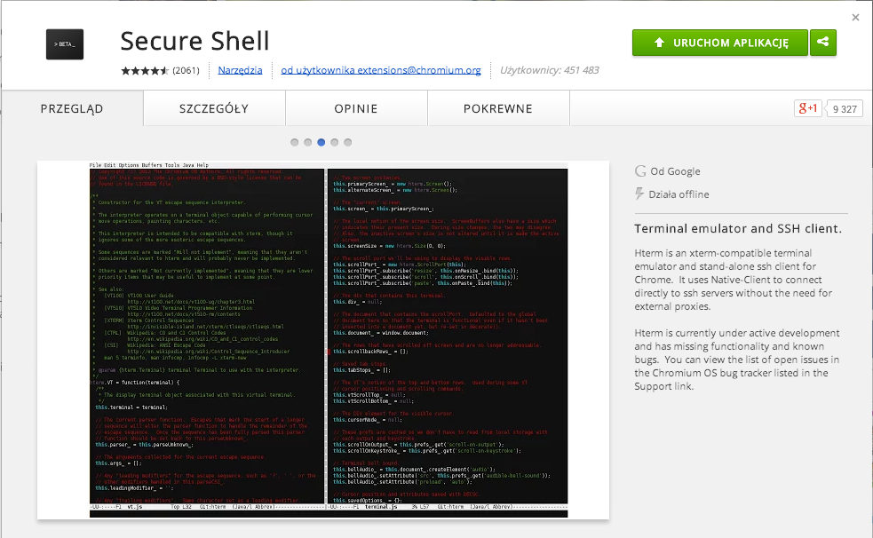 secure shell - plugin for Google Chrom